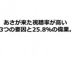 あさが来た視聴率が高い25.8